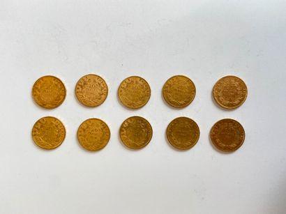 Lot de 10 pièces de 20 francs or.    Frais...