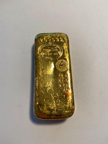 Lingot d'or et son bulletin d'essai.  N°...