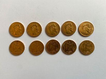 Lot de 10 pièces de 20 francs or    Frais...