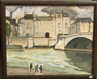 DESROUSSEAUX DE VANDIÈRE  Vue d'un pont  Signé...