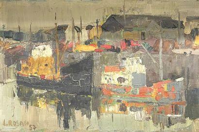Louis ROSAN (1926)  Quai à Lorient, 57  Huile...