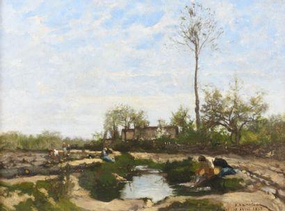 Hector HANOTEAU (1823-1890)  Le lavoir  Huile...