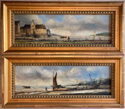 Georges SERRET (XXe siècle)  Maison et bateaux...