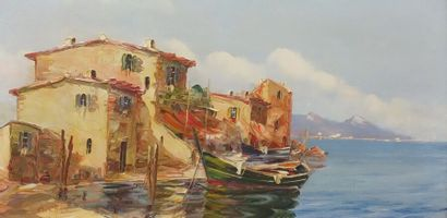 B. MICHEL (XXe siècle)  Barque dans un port...