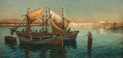 SEMAIGNE(?) (XXe siècle)  Embarcations devant...