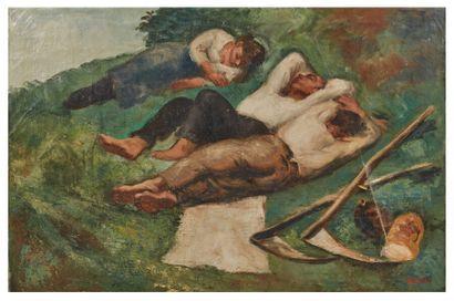Gérard COCHET (1888-1969)  Le repos des moissonneurs...