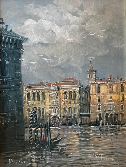 R. TOPPA (XXe siècle)  Venezia  Huile sur...