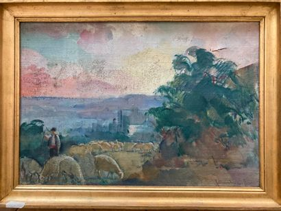 Guillaume DULAC (1868/83-1929)  Paysage  Huile...