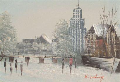 K. KULLING (?)  Paysage sous la neige  Huile...