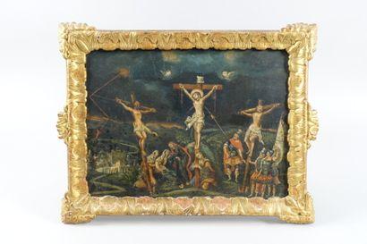 École du nord  Scène de crucifixion  Panneau...