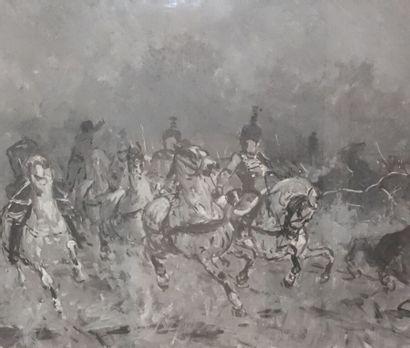 École française vers 1900  Scène de cavalerie...