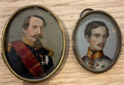 Deux portraits en miniatures :  Napoléon...