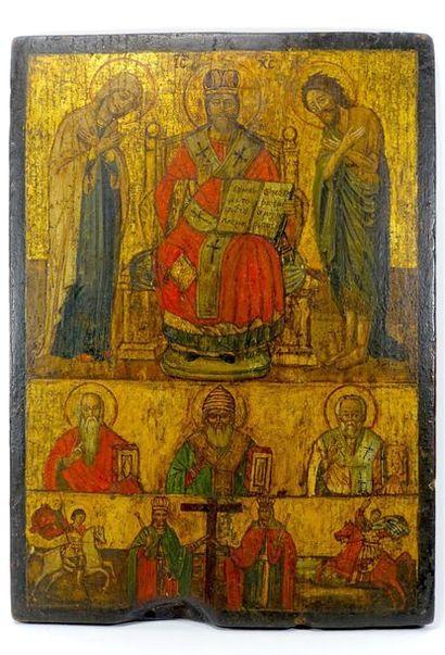 Icône tripartite du Christ en majesté entouré...
