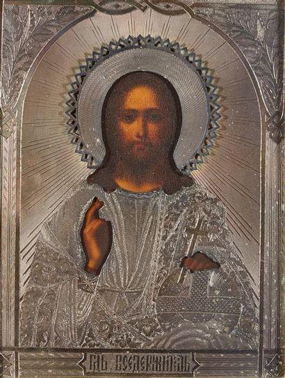 Icône du Christ pantocrator dans une riza....