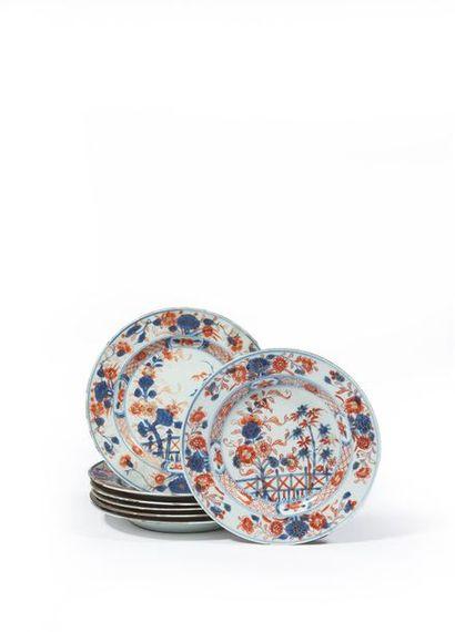 CHINE Sept assiettes en porcelaine blanche...