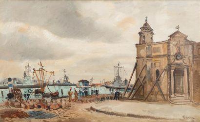 CERIA Edmond (1884-1955). Église Saint-François, Toulon Huile sur toile, signée...