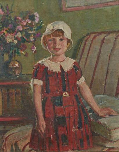 SIMON Lucien (1861-1945). Portrait de Sylvie, circa 1932 Huile sur toile marouflée...