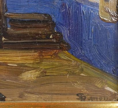SIMON Lucien (1861-1945). L'Escalier de la Grande Chaumière Huile sur panneau, signée...