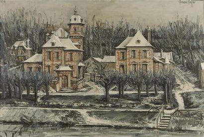 BUFFET Bernard (1928-1999). Ancien bords de Seine, le château de l'Étape 1976. Huile...