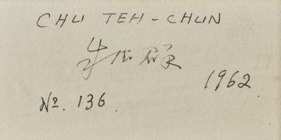 CHU The-Chun (1920-2014). Composition n° 136, 1962 Gouache sur papier. Haut. : 38...