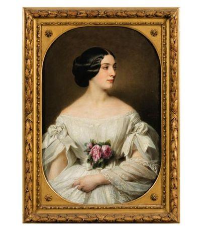 Hermann WINTERHALTER (1808-1891). Portrait présumé de madame Paul Renouard de Bussière,...