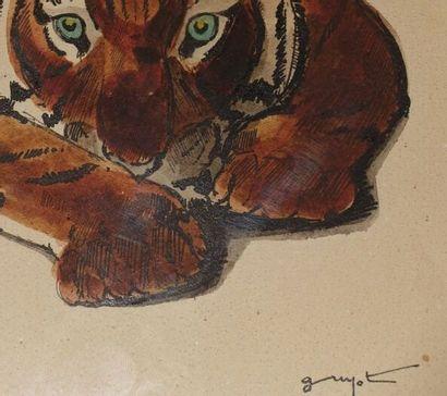 Georges-Lucien GUYOT (1885-1973). Tigre couché. Aquarelle sur papier, signée en...