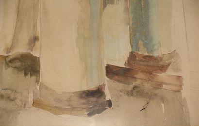 Étienne DRIAN (1885-1961). Intérieur à la colonne Aquarelle. Haut. : 61 cm ; Larg....