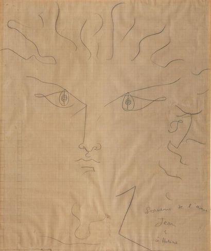Jean COCTEAU (1889-1963). Dessin au crayon...