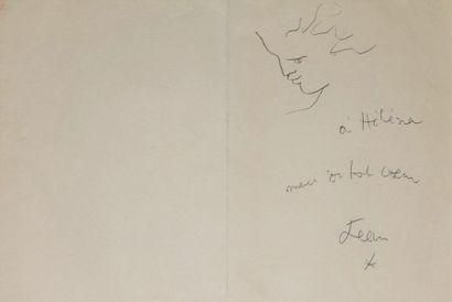 Jean COCTEAU (1889-1963). Profil Dessin au stylo à bille, signé et dédicacé « à...