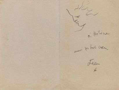 Jean COCTEAU (1889-1963). Profil Dessin au...