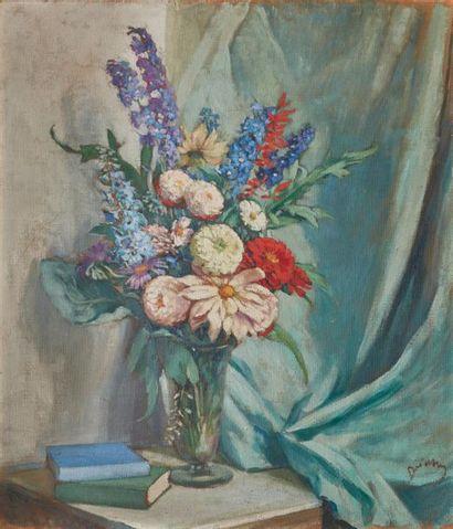 Étienne DRIAN (1885-1961). Bouquet dans un vase Huile sur panneau d'isorel, signée...