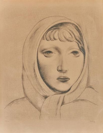 Moïse KISLING (1891-1953). Tête de jeune...