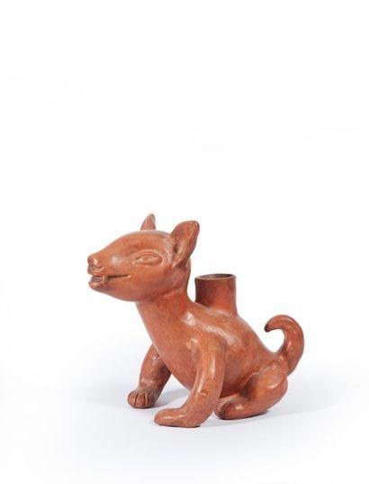 Jean MARAIS (1913-1998). Chandelier chien assis Terre cuite vernissée Haut. : 20,5...