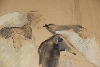 Étienne DRIAN (1885-1961). Portrait d'Yves MIRANDE Aquarelle, signée en bas à droite...