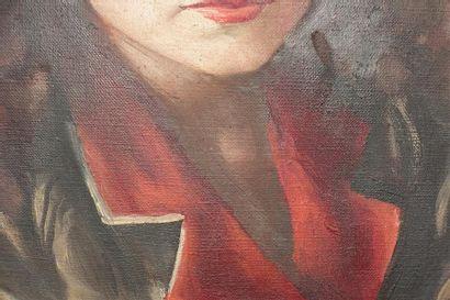 École moderne. Portrait d'Héléna Bossis Huile sur toile, tendue sur carton, porte...