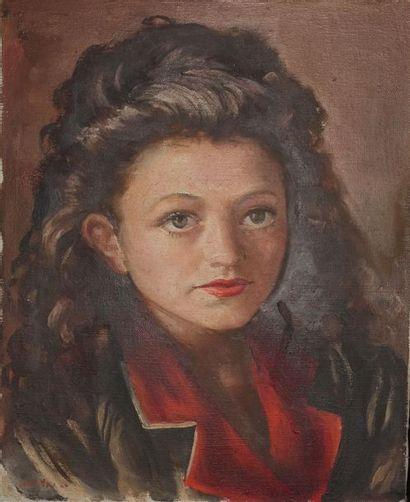 École moderne. Portrait d'Héléna Bossis Huile...
