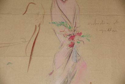 Attribuée à Étienne-Adrien DRIAN. Portrait présumé d'Héléna BOSSIS Aquarelle, annotée...