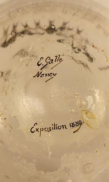 """Émile GALLÉ (1864-1904). """" La pluie au bassin fait des bulles """" - 1889. Soliflore..."""