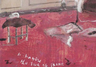 Christian BÉRARD (1902-1949). La Chambre du Tour de France Gouache, aquarelle et...