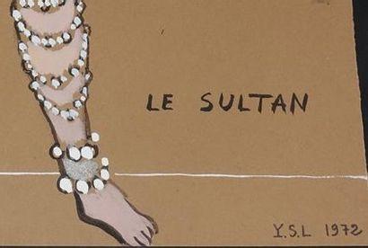 Yves SAINT-LAURENT (1936-2008). Le Sultan Gouache sur papier brun, monogrammée et...