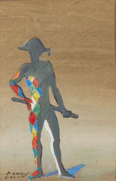 Paul COLIN (1892-1985). Arlequin Gouache,...