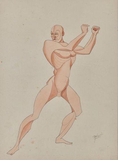 Auguste AGERO (1880-1945) Athlète Aquarelle, signée en bas à droite. Haut. : 29,2...