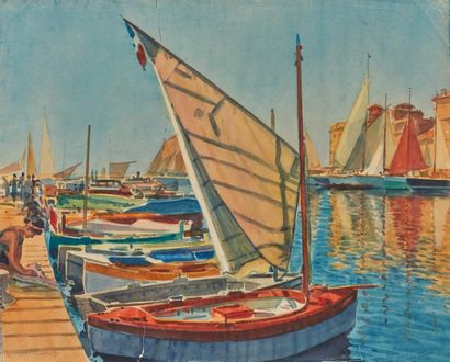 Tony MINARTZ (1870-1944). Tartanes au port...