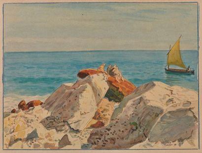Tony MINARTZ (1870-1944). Côte rocheuse Aquarelle....