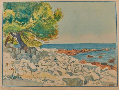 Tony MINARTZ (1870-1944). Côte rocheuse Aquarelle,...