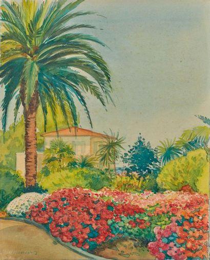 Tony MINARTZ (1870-1944). Parcs Deux aquarelles,...