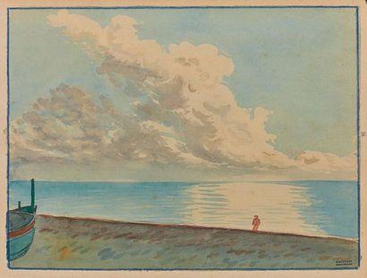 Tony MINARTZ (1870-1944). Marines Deux aquarelles,...