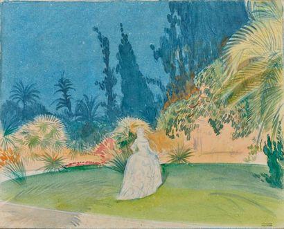 Tony MINARTZ (1870-1944). Paysage aux cyprès...