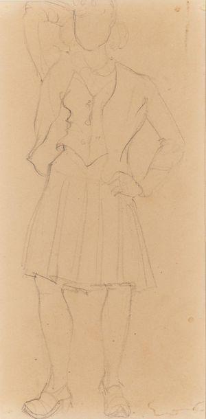 Attribué à Emile-Othon FRIESZ (1879-1949). Étude de femme debout Mine de plomb sur...
