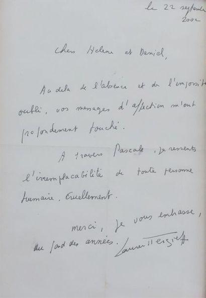 Laurent TERZIEFF (1935-2010). Lettre datée du 22 septembre 2002.